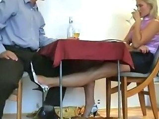 Mature blond slut rubbing small dick nigh her feet