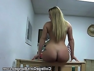 College Girl Cumshot On Tits And Blonde Dancing