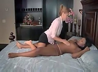 Pretty swarthy brunette tastes white pussy of experienced blonde.