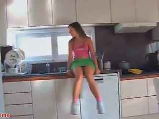 Teen upskirts in the kitchen