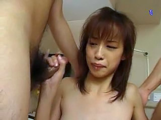 Japanese chick on double cumshot