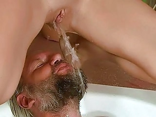 Grandpa and beauty pissing and fucking