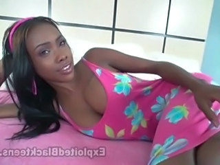 18 yr old Black Girl w Natural Boobs in 1st Time Adult Video