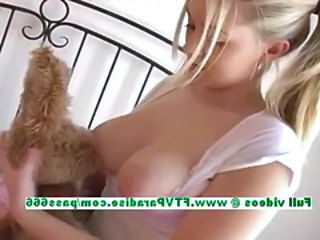 Alison superb busty blonde babe licking boobs and fingering pussy
