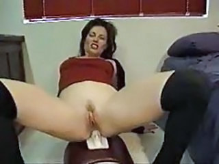 Gorgeous girl rides the Sybian with her tight ass tubes