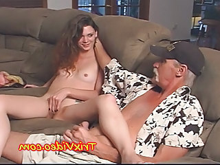 TEEN Babe teases a poor old MAN