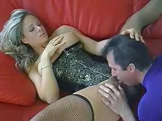Cute busty blonde MILF trades oral sex and then