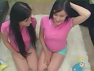 Twins - Teen Sisters Being Taught By Father And
