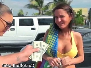 Brunette Amateur Flashes Big Tits For Cash In Public