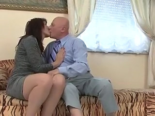 Mature Older Kissing Mother