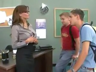 Student Teacher Threesome Glasses Busty Milf Ass Milf Threesome