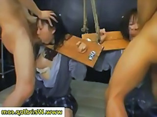 Tiny asian slaves gets throats fucked and cumshoted