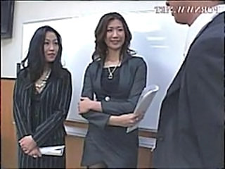 Office Asian Threesome Boss Punish