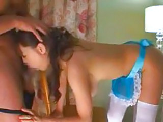 Lusty Asian maid cleans the room and his cock tubes