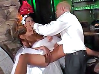 Babe in a wedding dress nailed in ass tubes