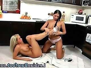Busty coupled give Horny Lesbians babes foot