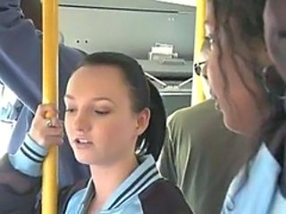 Brunette used and banged by strangers on public bus