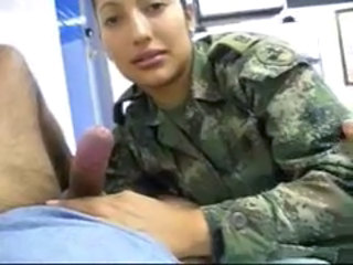 Real Latin Female SOLDIER MILITARY suck a cock