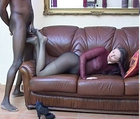 Awesome nylon stockings pantyhose footjob with nice cumshot