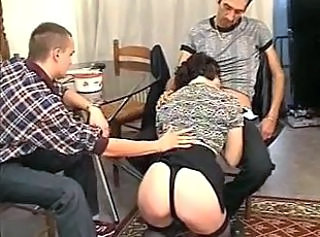 Ass Blowjob Clothed Threesome French Threesome Brunette Footjob Buttplug