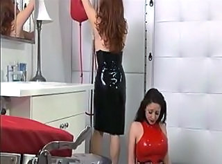 Sexy red head dom makes whore bend over and show her pussy