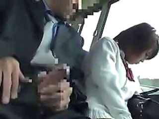 Bus Handjob Japanese Bus + Asian Handjob Asian