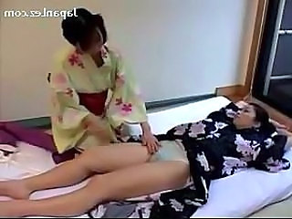 Asian Girl In Kimono Getting Her Tits And Pussy Rubbed Kissing On The Bed