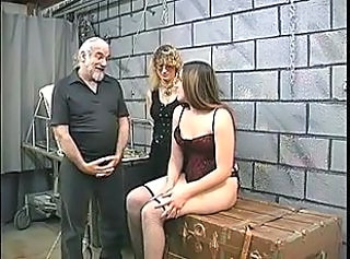 Two cute basement bdsm lesbians make out and get roped up by master...