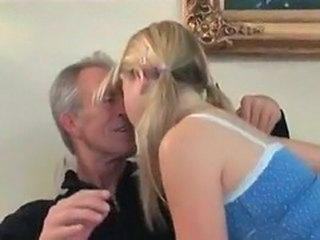 Pigtail Kissing Old and Young Grandpa Kissing Teen Old And Young