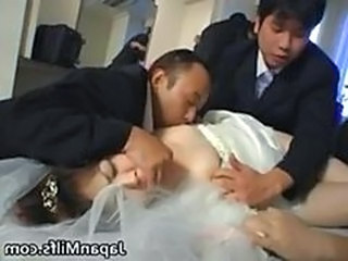Asian bride gets hardcore group fucking part1