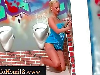 Blond At A Gloryhole Playing Wit...