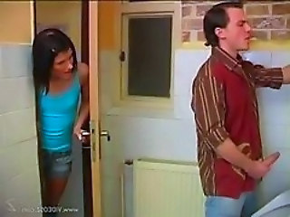 Debbie helps guy to cum in the toilet
