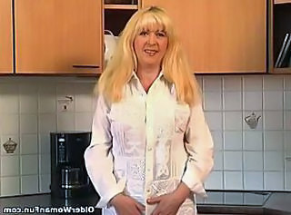 Kitchen Mature Granny Blonde Kitchen Mature