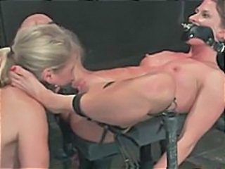 Lesbian BDSM action with two bitches getting bound and toyed to destruction