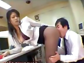 Cute OL Stocking Ass Friction Cumshot In Office