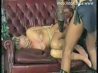 Horny blond slave with nice tits gets spanks slave on her as