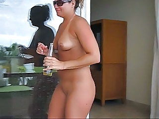 Stripping on the hotel balcony