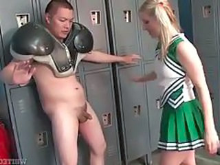 Pigtailed blonde cheerleader being aggressive to horny Asian man tubes