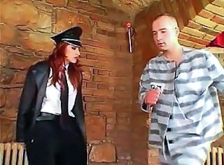 Femdom Prison Uniform Leather Mistress Son