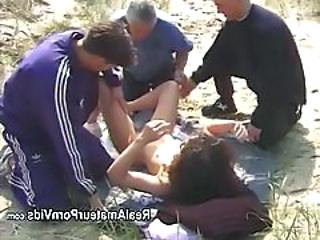 Beach Gangbang MILF Outdoor