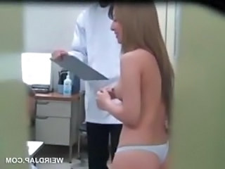 Gorgeous asian gets tits and butt measured at doctor
