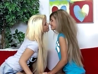 Adorable blonde lesbians licking and fingering Part 1