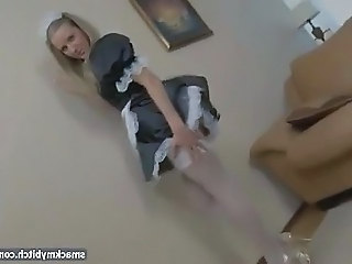 Teen French maid fucked