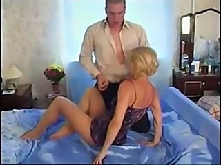 Oldie in pantyhose allows her burly fuckmate to enjoy her wet slit