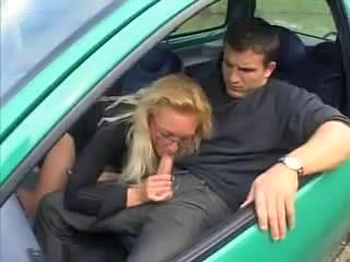 European French Glasses Blowjob Milf Car Blowjob French Milf
