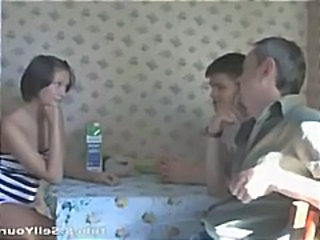 Horny young teen lets his brunette girlfriend get fucked by old dude while he watches