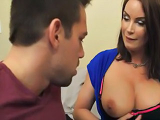 Big tits cougar diamond foxxx pleases husband by fucking younger cock