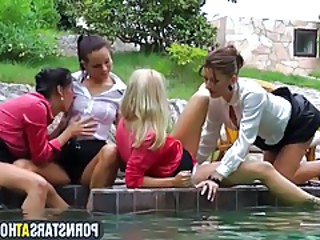 European pornstars having a pool party tubes