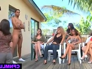 CFNM show with toyboy licking ass and pussy
