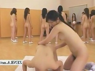 Strange and weird look into a nudist Japanese school populated by futanari dickgirls who line up with proud penises of various sizes on display as the